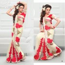 Wedding Net Georgeous Designer Embroidered Sari With Unstitch Blouse - ST 01a N