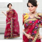 Wedding Net Georgeous Designer Embroidered Sari With Unstitch Blouse - ST 04a N