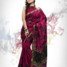 Faux Georgette Fabric Violet Red Color Designer Printed Saree Sari - Nt 137B