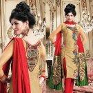 Silk Jacquard Bollywood Wedding Salwar Kameez Shalwar Suit - DZ 5105b N