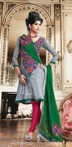 Crepe Jacquard Bollywood Wedding Salwar Kameez Shalwar Suit - DZ 5122b N
