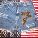 Cheetah Print Cross Vintage Shorts