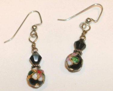Vintage Style Cloisonne Bead Earrings (black)