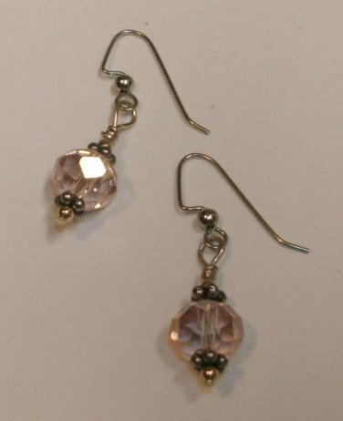 Vintage-Style Pale Pink Fire-polished Earrings