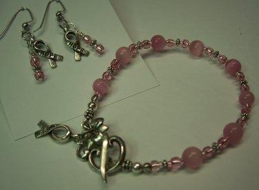 Pink Ribbon Bracelet/Earring Set