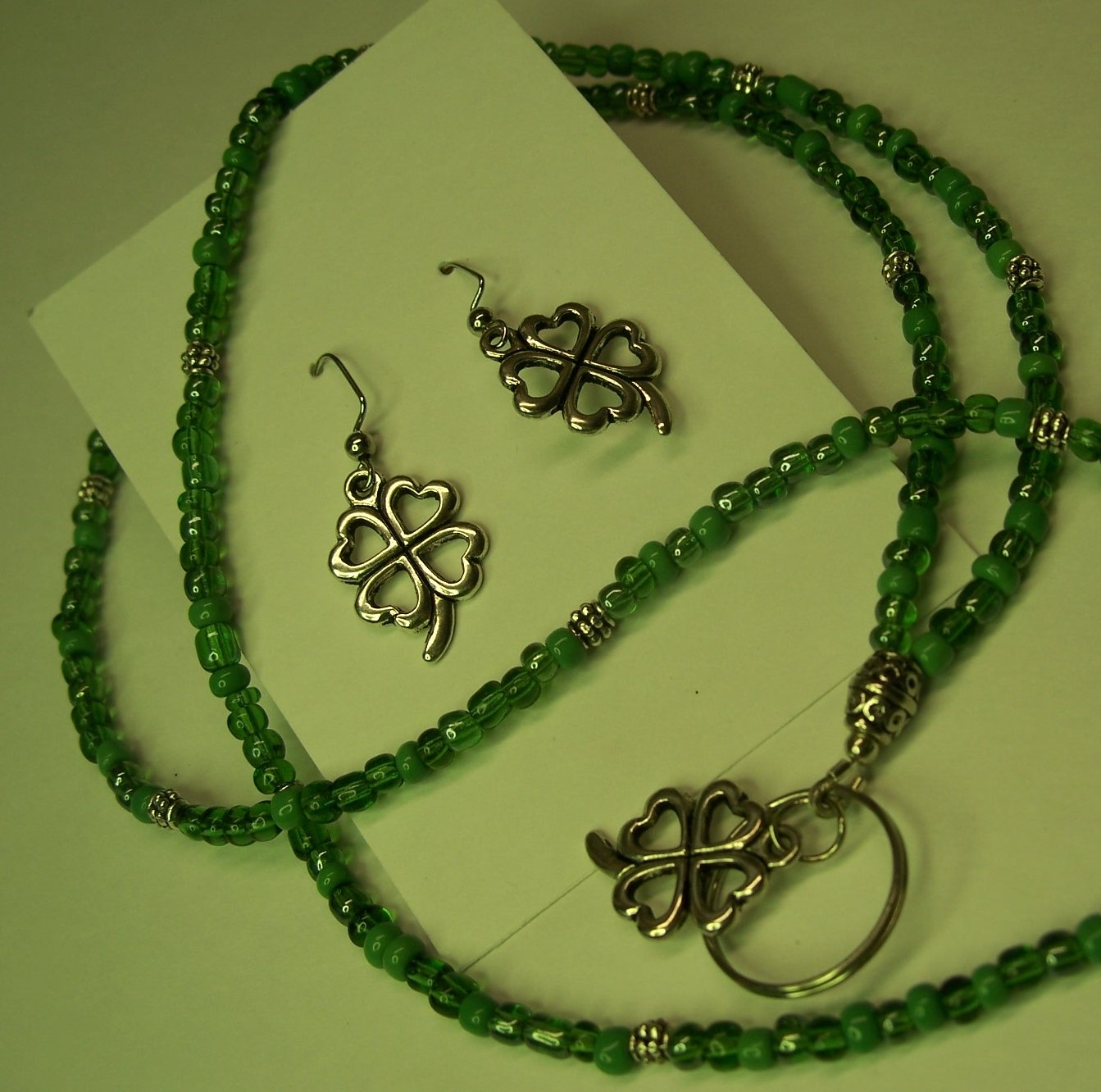 Lucky Charm Name Badge/Lanyard/Earring Set