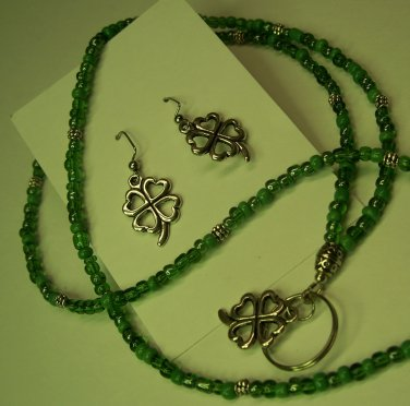 Lucky Charm Name Badge/Lanyard/Earring Set