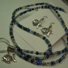 Blue Fish Name Badge/Tag Lanyard/Earring Set
