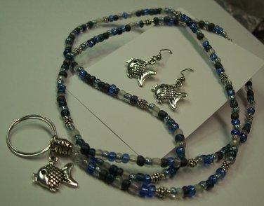 Blue Fish Name Badge/Tag Lanyard/Earring Set
