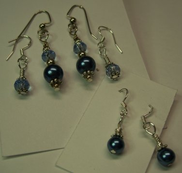 Peacock Blue 6 pc Earring Set
