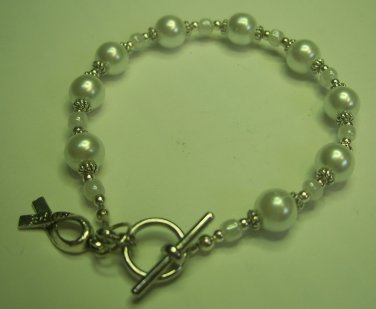 Pearl Lung Cancer Awareness Bracelet
