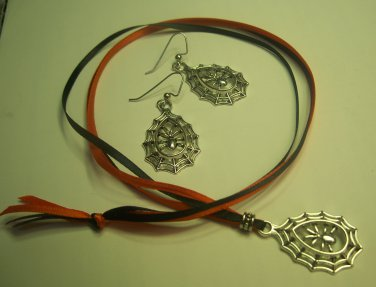 Halloween Spider Necklace/Earring Set