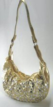 Covered Front Sewed on Stones Hobo Style Handbag