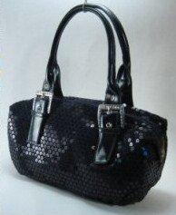 Black Sequin Double Strap Handbag