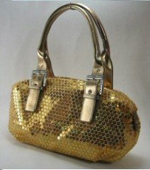 Gold Sequin Double Strap Handbag