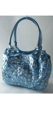 Metallic Handbag with Studded Front and Multiple Pockets
