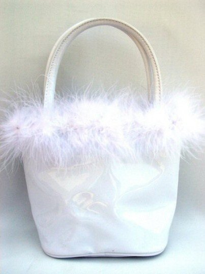 Anarkey - White Petite Bucket Handbag with Feather Marabou Trim