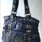Elcante - Black Crinkle Leather Look Tote Style Handbag with Metal Button Studs