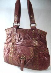 Elcante - Brown Crinkle Leather Look Tote Style Handbag with Metal Button Studs
