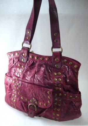 Elcante - Dark Red Crinkle Leather Look Tote Style Handbag with Metal Button Studs