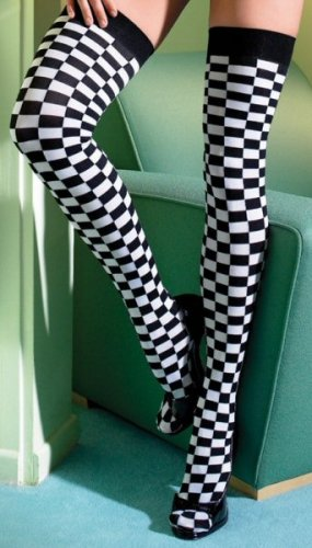Checkerboard Pattern Thigh Highs