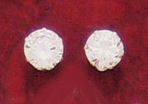 9mm Round CZ Sterling Silver Earrings