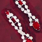 Austrian Crystal Drop Earrings with Red Crystal Accent