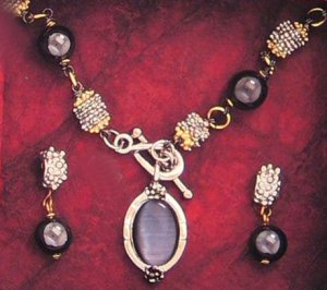 Black Pearl Necklace Set with Matching Earrings