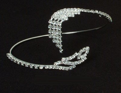 Rhinestone Bangle / Armband with Feather Design