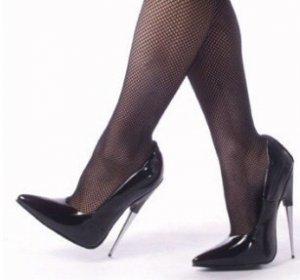 """""""Scream"""" - Women's Spike Stiletto Heel Shoes in Black Gloss"""