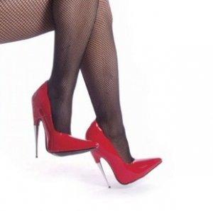 """""""Scream"""" - Women's Spike Stiletto Heel Shoes in Red Gloss"""