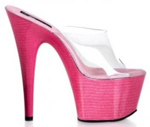 Adore - Women's Clear Strap Open Toe Faux Wood Platform Stilleto Slides in Pink