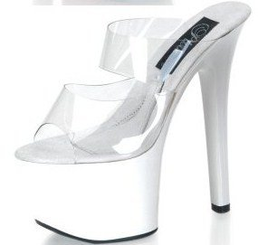 Treasure Chest - Women's 6-3/4 Inch Hollow Platform Heels with Double Strap in White