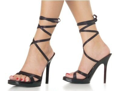 Vogue - Women's Open Toe Sandals with Satin Wrap Around Ankle Strap