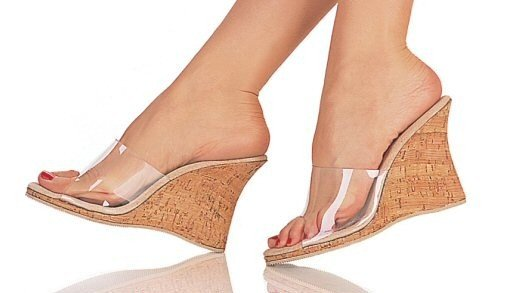 Snapshot - Women's Wedge Style Platform Heel Shoes with Clear Strap