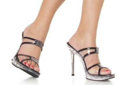 Vogue - Women's Clear Strap Sandals with Rhinestone Details
