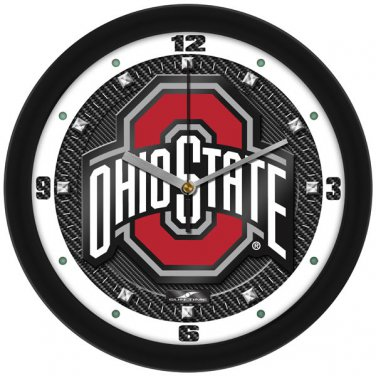 Ohio State Buckeyes Carbon Fiber Textured Wall Clock