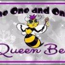 Queen Bee Purple Metal Novelty License Plate