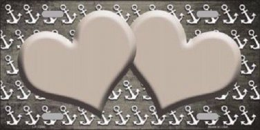 Tan White Anchor Hearts Print Oil Rubbed Metal Novelty License Plate
