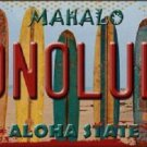 Honolulu Surfboards Hawaii State Background Novelty Metal License Plate