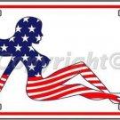 Patriotic American Flag Mud Flap Girl Novelty Vanity Metal License Plate