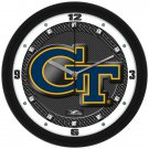 Georgia Tech Yellow Jackets Carbon Fiber Textured Wall Clock