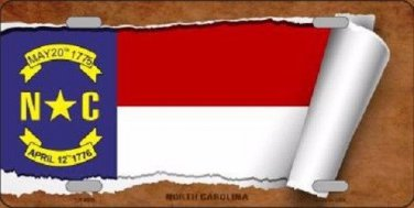 North Carolina Flag Scroll Novelty Metal License Plate