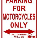 Motorcycle Parking Only Metal Novelty Parking Sign