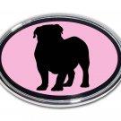 English Bulldog Oval Chrome Auto Emblem (PINK)