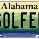 Golfer Alabama Background Novelty Metal License Plate