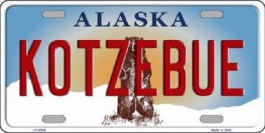 Kotzebue Alaska State Background Novelty Metal License Plate