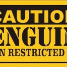 Caution Penguins Vanity Metal Novelty License Plate