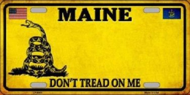 Maine Don't Tread On Me Novelty Metal License Plate