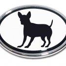 Chihuahua Oval Chrome Auto Emblem